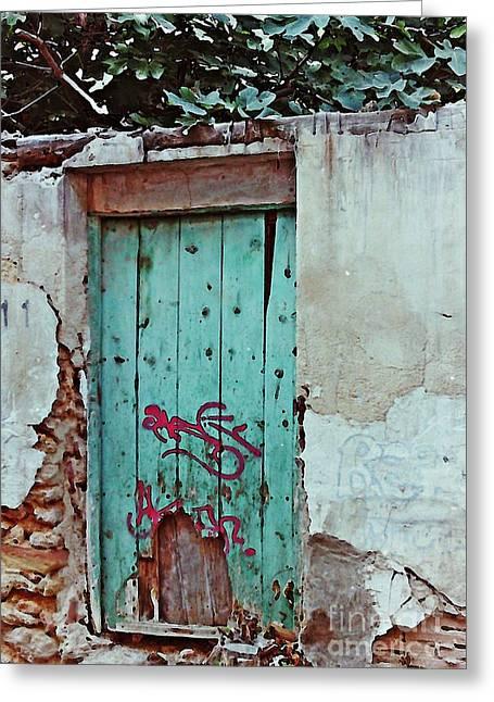 Graffiti Decor Greeting Cards - Old Door and Graffiti in Lorca Greeting Card by Sarah Loft