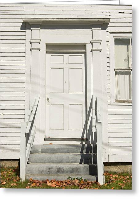 Old Maine Houses Greeting Cards - Old Door And Steps Close-up Greeting Card by Keith Webber Jr