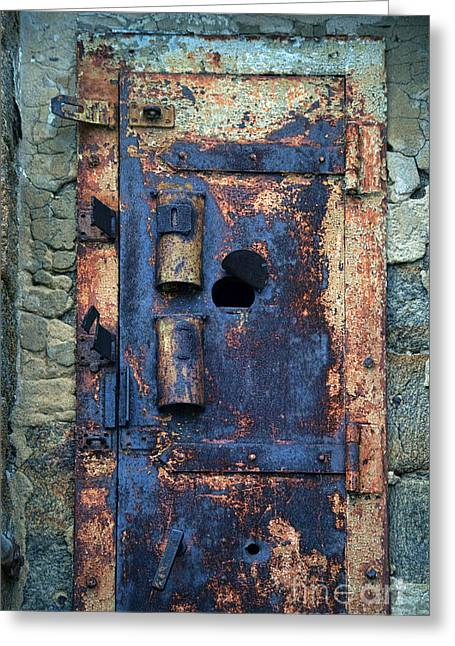 Rehabilitation Greeting Cards - Old Door at Abandoned Prison Greeting Card by Jill Battaglia