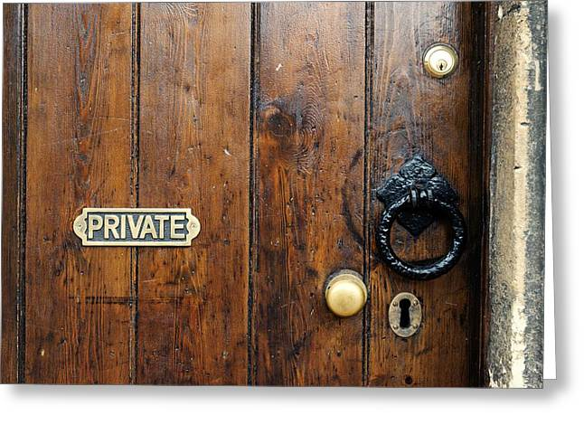 Entrance Door Greeting Cards - Old Door Greeting Card by Chevy Fleet