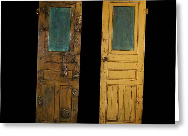 Old Door Sculptures Greeting Cards - Old door Greeting Card by Christopher Schranck