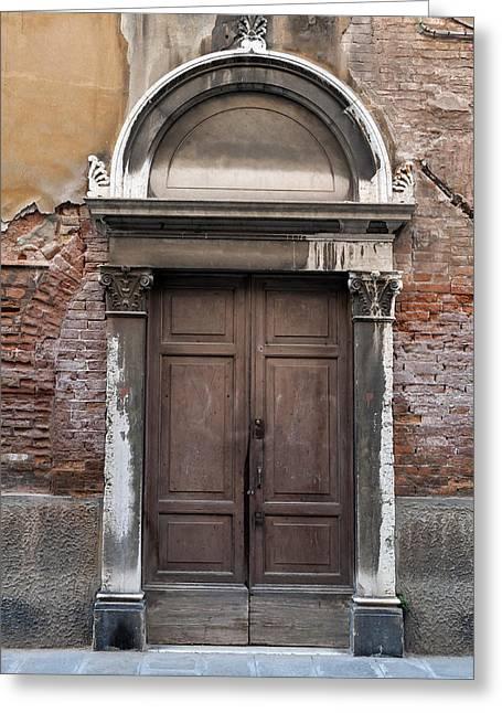 Venetian Doors Greeting Cards - Old door. Greeting Card by Fernando Barozza
