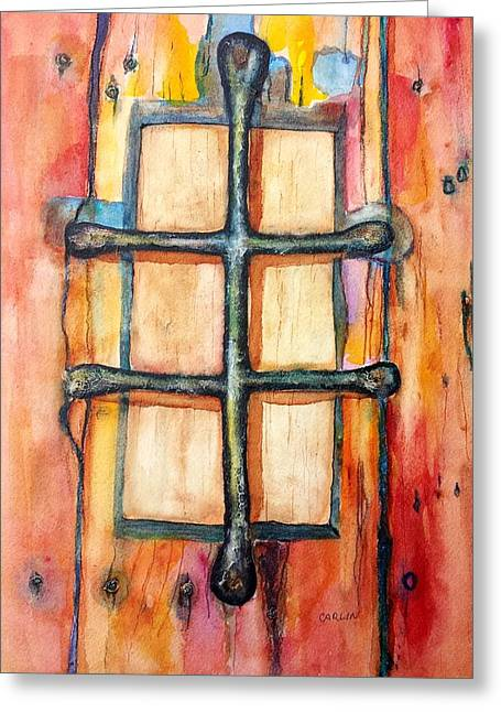 Dungeons Paintings Greeting Cards - Old Door Grille Speakeasy Peephole Greeting Card by Carlin Blahnik