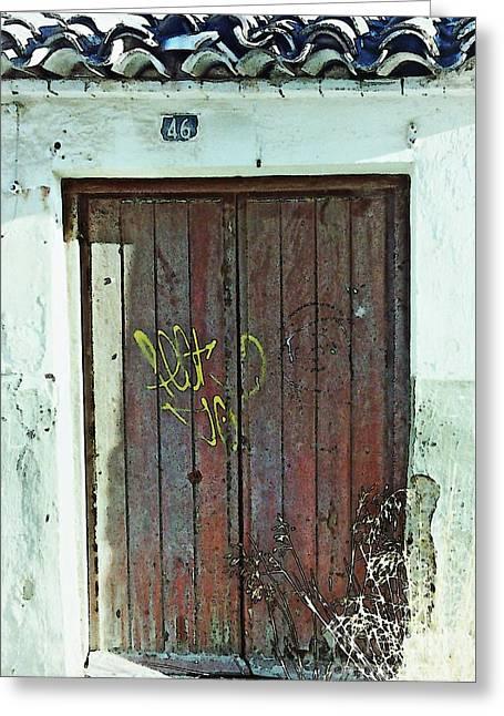 Graffiti Decor Greeting Cards - Old Door in Alcantarilla Greeting Card by Sarah Loft