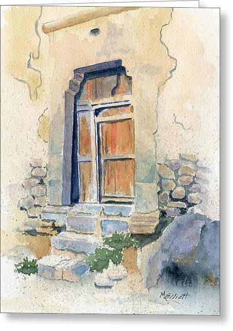 Old Door In Cuzco Peru Greeting Card by Marsha Elliott