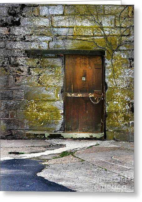 Peep Hole Greeting Cards - Old Door Greeting Card by Jill Battaglia