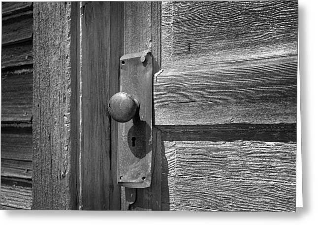 Old Door Knob On Old School Building Greeting Card by Donald  Erickson