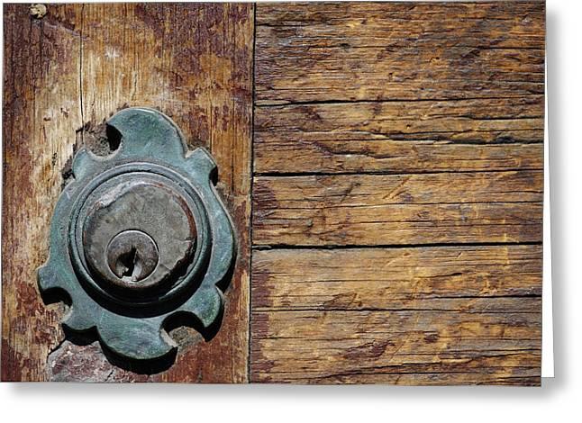 Norman Pogson Greeting Cards - Old Door Lock Greeting Card by Norman Pogson