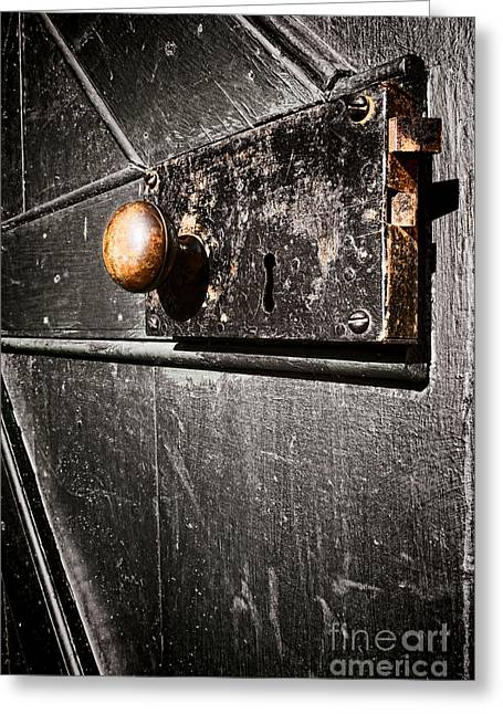 Knob Greeting Cards - Old Door Lock Greeting Card by Olivier Le Queinec