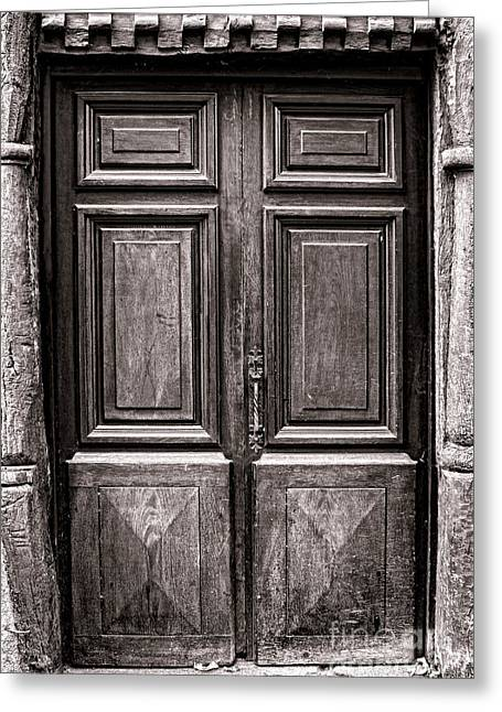 Medieval Entrance Photographs Greeting Cards - Old Door Greeting Card by Olivier Le Queinec