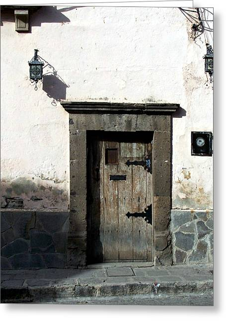 Street Pyrography Greeting Cards - Old door on Zacateros San Miguel de Allende Greeting Card by Cristiana Marinescu