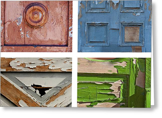 Entryway Greeting Cards - Old Door Panels Greeting Card by Art Block Collections
