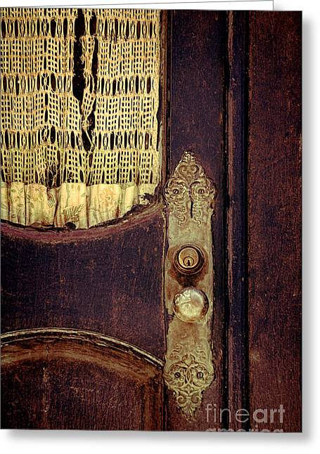 Knob Greeting Cards - Old Door with Lace Curtain Greeting Card by Jill Battaglia