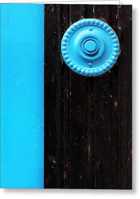 Doorbell Greeting Cards - Old Doorbell On Door Greeting Card by Mikel Martinez de Osaba
