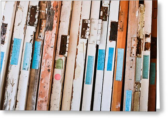 Labelled Greeting Cards - Old doors Greeting Card by Tom Gowanlock