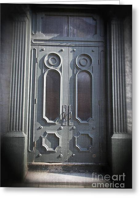 Glass Facades Greeting Cards - Old Doorway Quebec City Greeting Card by Edward Fielding