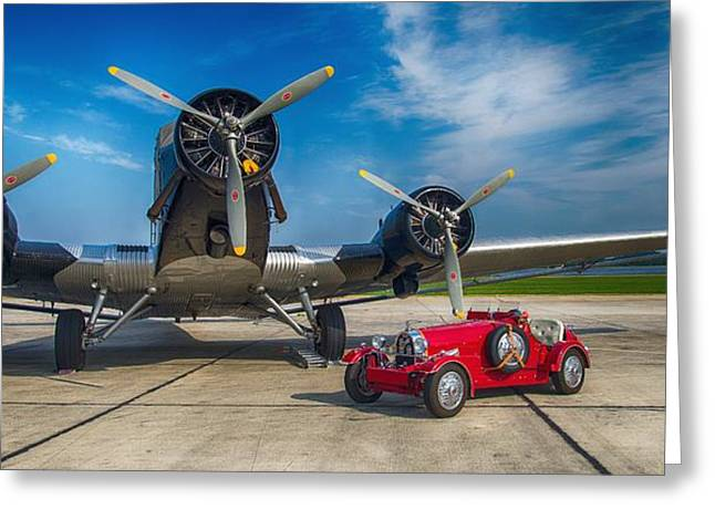 Ju 52 Greeting Cards - Old Double Greeting Card by Thomas Christoph
