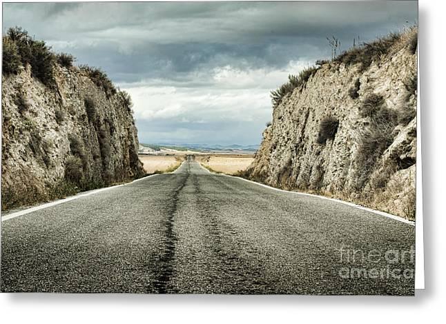 Old Roadway Greeting Cards - Old dramatic asphalt road Greeting Card by Deyan Georgiev