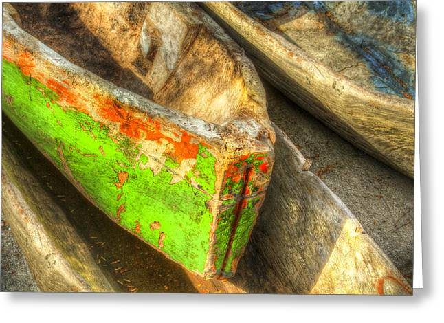 Canoe Photographs Greeting Cards - Old Dug-out Canoes Greeting Card by Debra and Dave Vanderlaan