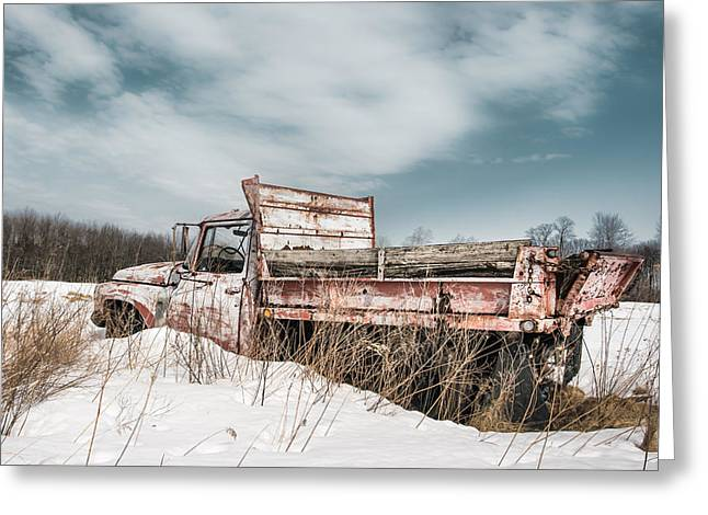 Snowy Field Greeting Cards - Old dump truck - winter landscape Greeting Card by Gary Heller