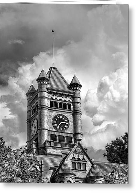 Romanesque Greeting Cards - Old DuPage County Courthouse Clouds Black and White Greeting Card by Christopher Arndt