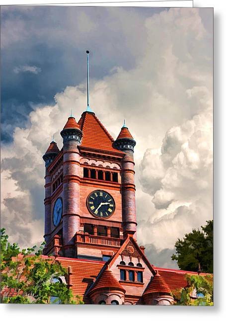 Historic Places Greeting Cards - Old DuPage County Courthouse Clouds Greeting Card by Christopher Arndt