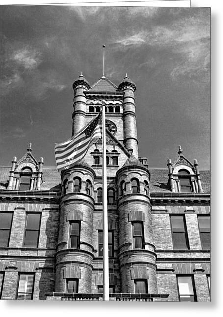 Romanesque Greeting Cards - Old DuPage County Courthouse Flag Black and White Greeting Card by Christopher Arndt