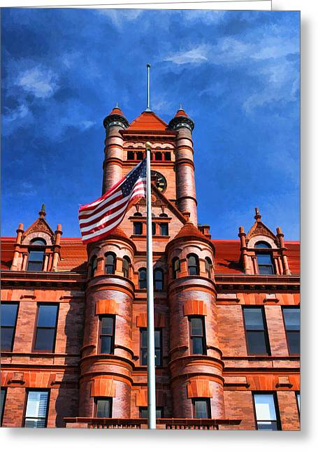 Historic Places Greeting Cards - Old DuPage County Courthouse Flag Greeting Card by Christopher Arndt