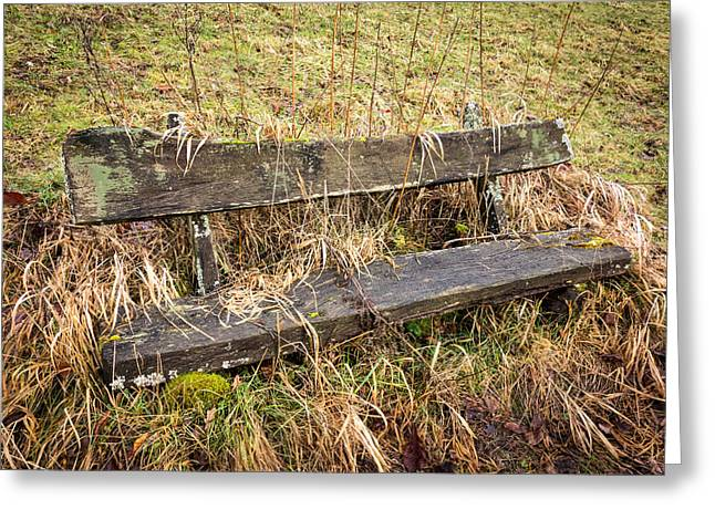 Overgrown Greeting Cards - Old empty overgrown wooden bench Greeting Card by Matthias Hauser