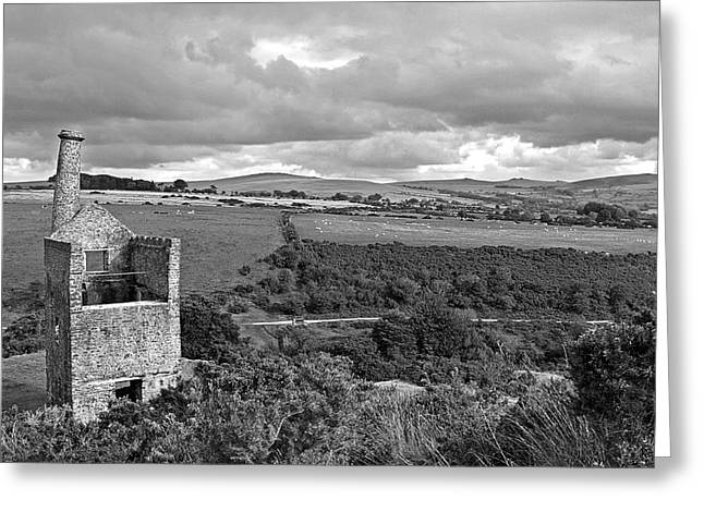 Engine House Greeting Cards - Old Engine House at the Wheal Betsy Mine Dartmoor Greeting Card by Gill Billington