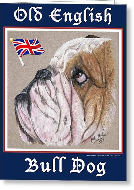 Bulls Pastels Greeting Cards - Old English Bull Dog Greeting Card by Ellen Lyner