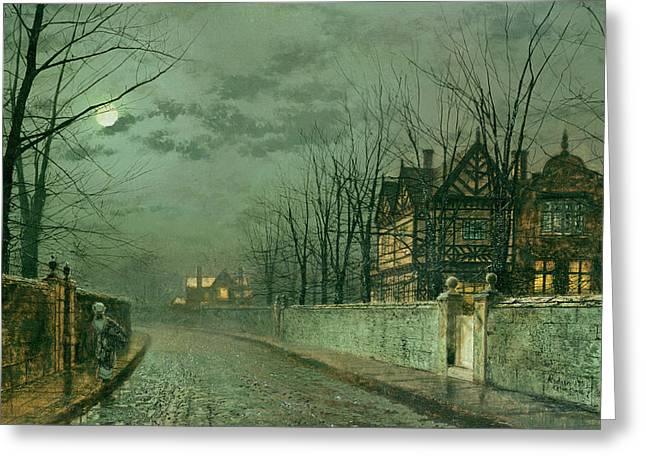 Old English House, Moonlight Greeting Card by John Atkinson Grimshaw