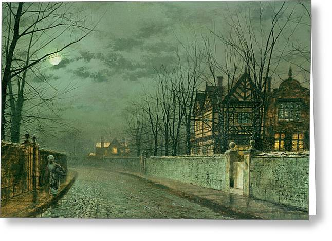 Old English House, Moonlight Greeting Card by John Atkinson Grimshaw