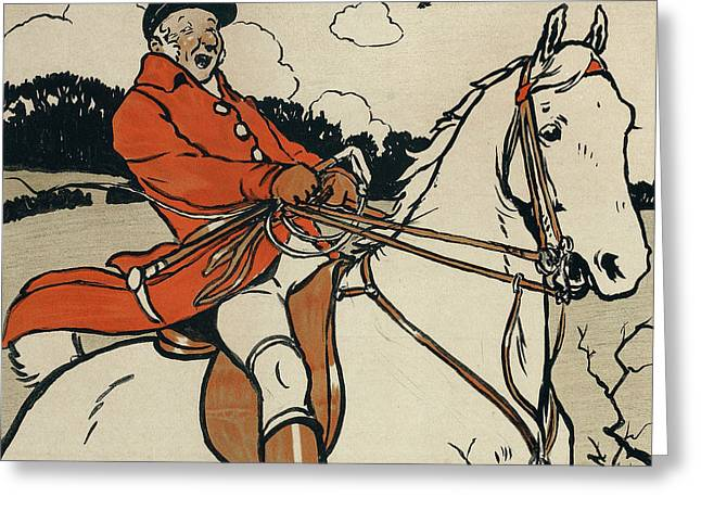 Edwardian Greeting Cards - Old English Sports and Games Hunting Greeting Card by Cecil Charles Windsor Aldin