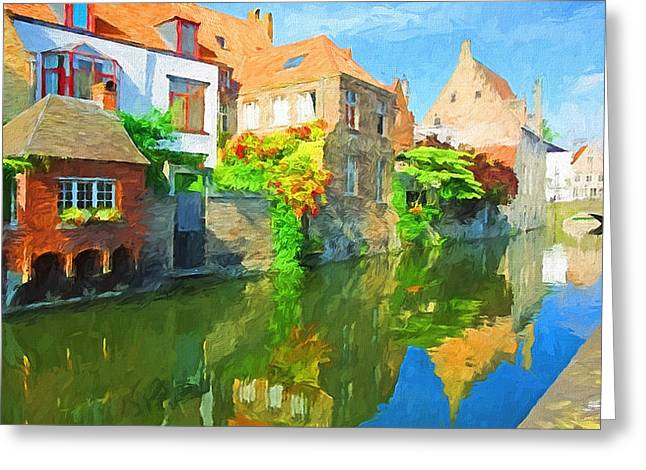 Old Town Digital Art Greeting Cards - Old Europe Town Greeting Card by Yury Malkov