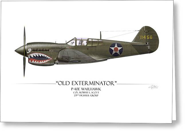 Red Tiger Greeting Cards - Old Exterminator P-40 Warhawk - White Background Greeting Card by Craig Tinder