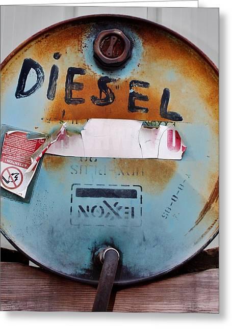 Rusty Oil Drum Greeting Cards - Old Exxon Drum Greeting Card by Cynthia Guinn