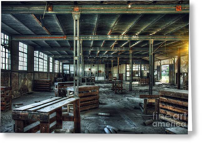 Workplace Photographs Greeting Cards - Old Factory Ruin Greeting Card by Carlos Caetano