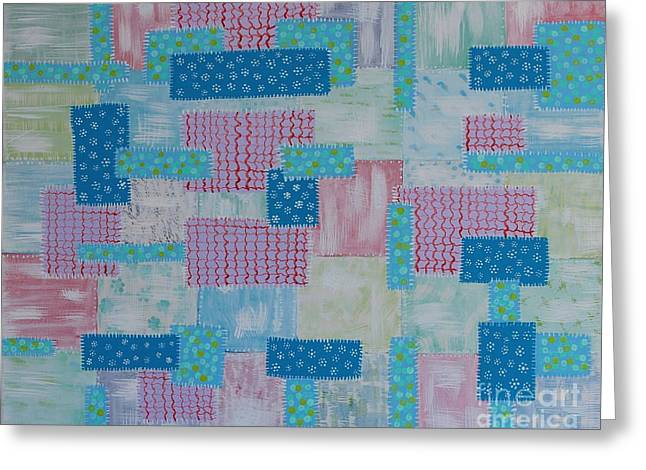 Barbara Griffin Quilts Greeting Cards - Old Faded and Patched Quilt Painting Greeting Card by Barbara Griffin
