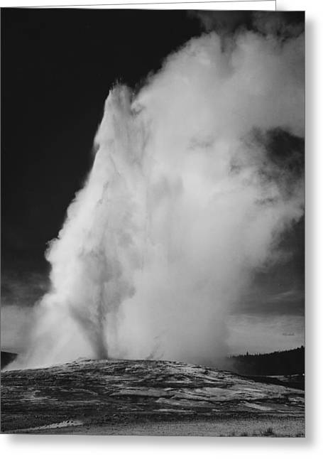 Old Faithful Geyser Yellowstone National Park Wyoming Greeting Card by Ansel Adams