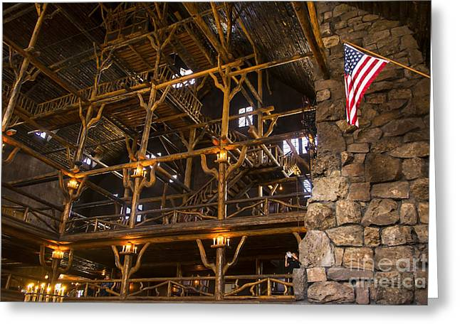 Old Inns Photographs Greeting Cards - Old Faithful Inn Greeting Card by Bob and Nancy Kendrick
