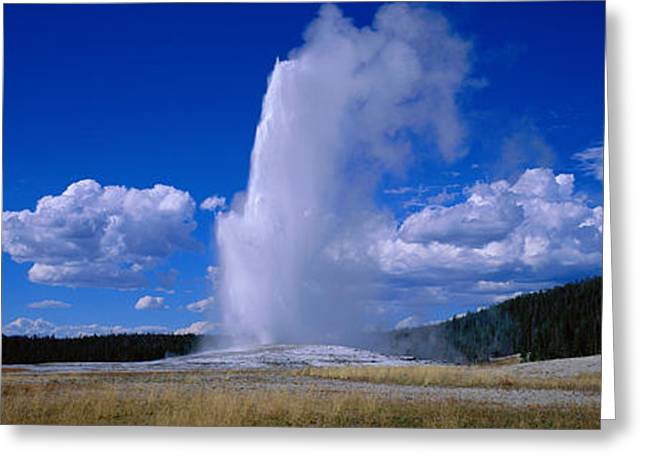 Old Faithful, Yellowstone National Greeting Card by Panoramic Images