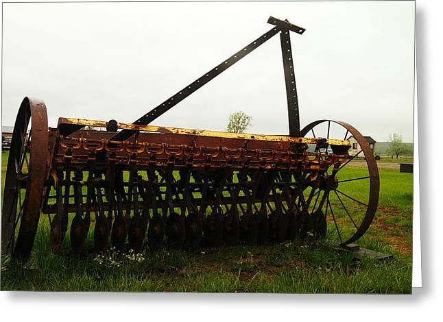 Old Relics Photographs Greeting Cards - Old Farm Equipment Greeting Card by Jeff  Swan