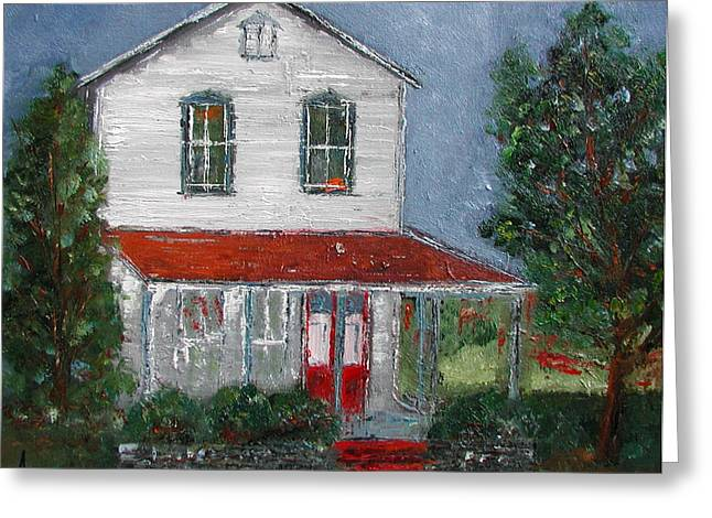 Old School Houses Paintings Greeting Cards - Old Farm House Greeting Card by Anna Ruzsan