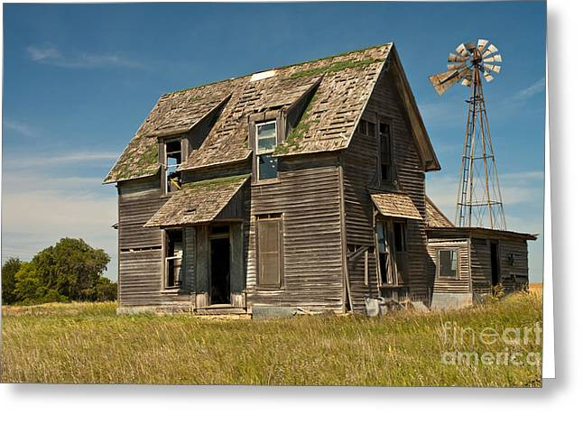 Clapboard House Greeting Cards - Old Farm House, Kansas Greeting Card by Richard and Ellen Thane