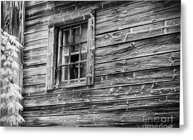 Maine Farms Greeting Cards - Old Farm House Window Greeting Card by Alana Ranney