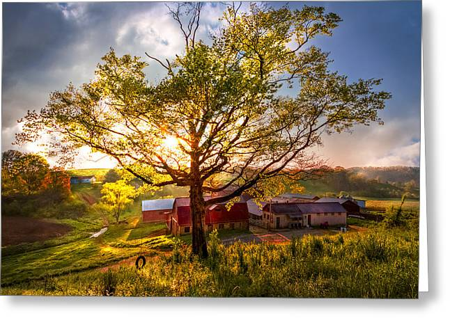 Red Roofed Barn Greeting Cards - Old Farm in the Blue Ridge Mountains Greeting Card by Debra and Dave Vanderlaan