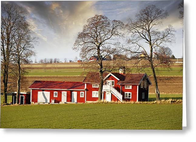 Environment-friendly Greeting Cards - Old Farm Set In A Rural Picturesque Landscape Greeting Card by Christian Lagereek