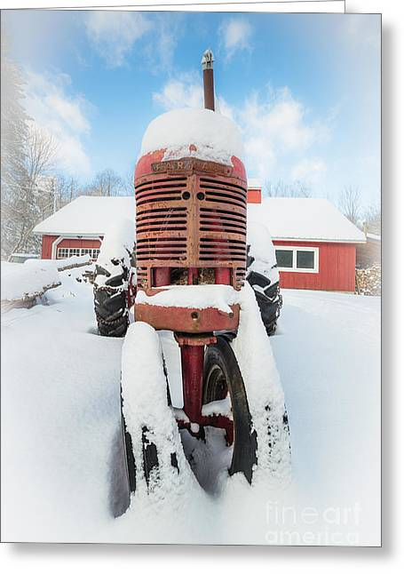 New England Farm Greeting Cards - Old Farm Tractor in the Snow Greeting Card by Edward Fielding