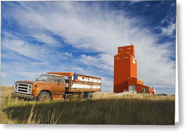 Farm Structure Greeting Cards - Old Farm Truck And Grain Elevator Greeting Card by Dave Reede